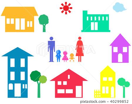 가족과 집 모양의 세트 40299852