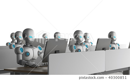 Group of robots using computers on white 40300851