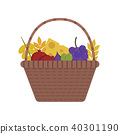 Wicker basket with fruits and dairy products icon 40301190
