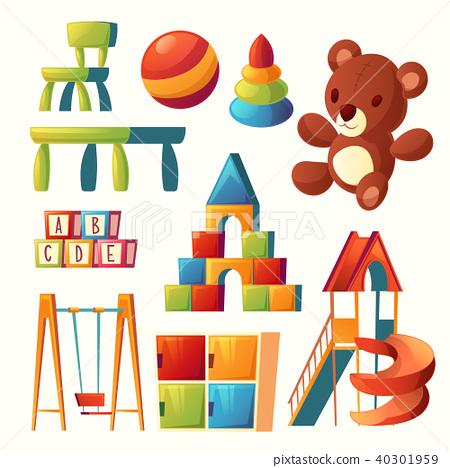 Vector cartoon toys for children playground, kindergarten 40301959