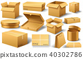 Realistic empty cardboard box Opened. Brown delivery. Carton package with fragile sign on 40302786