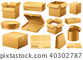 Realistic empty cardboard box Opened. Brown delivery. Carton package with fragile sign on 40302787
