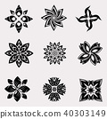 The vector set of heraldic decoration flowers 40303149