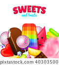 Realistic Sweet candies. Swirl caramel, assorted circle lollipops, dragee and chocolates, fruit 40303500
