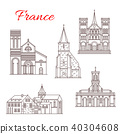 France travel landmarks vector buildings icons 40304608