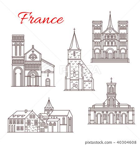 France travel landmarks vector buildings icons 40304608