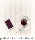 Top view black coffee drink with smartphone 40307043