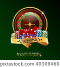 Casino roulette wheel with chips, red dice, isolat 40309460
