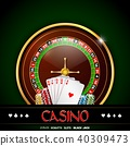 Casino roulette with chips and playing cards on gr 40309473
