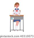 女學生坐在椅子上 40310073