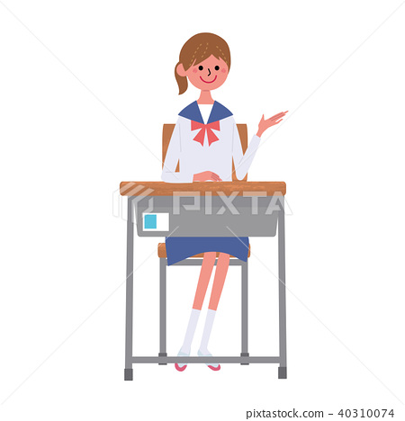 女学生坐椅子例证集合 40310074