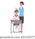 女学生坐椅子老师例证集合 40310077