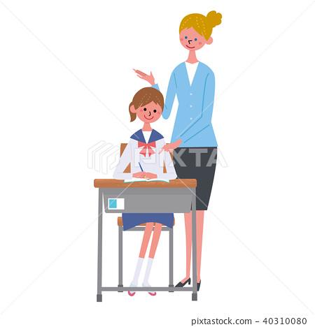 女孩 学习 白色背景 40310080