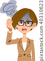 穿着西装眩晕眼镜的职业女性的疾病的症状 40310623