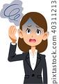 穿著西裝眩暈的職業女性患病的症狀 40311213