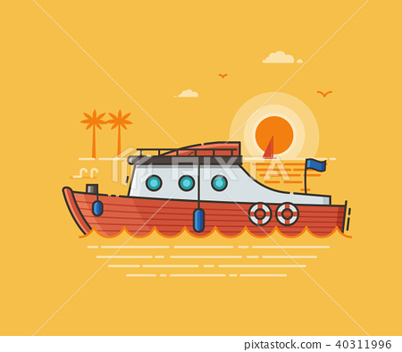 Sea Vacation Illustration with Red Speed Boat 40311996