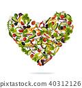 Heart shape made of various kind of vegetable 40312126