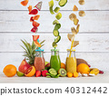 Smoothie maker mixer with pieces of fruit 40312442