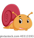 happy snail crawling 40313393