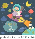 Girl astronaut with her unicorn riding a rocket 40317764