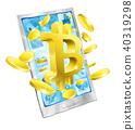Mobile Phone Bitcoin Gold Coins Concept 40319298