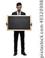 Full Body Young Asian Businessman Holding Big Blackboard Room fo 40320998
