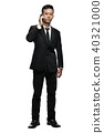 Full Body Young Asian Businessman Calling with Smartphone 40321000