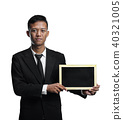 Young Asian Businessman Holding Blackboard Room For Text Isolate 40321005