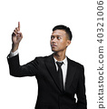 Young Asian Businessman Pointing Up Isolated White Background 40321006