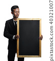 Young Asian Businessman Holding Big Blackboard Room For Text Iso 40321007