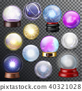 Magic ball vector magical crystal glass sphere and shiny lightning transparent orb as prediction 40321028