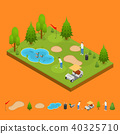 Golf Composition Concept and Elements Part 3d Isometric View. Vector 40325710