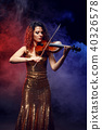 Violinist girl performs on stage. 40326578
