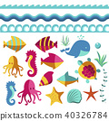 Nautical animal elements wave ocean sea blue marine vector illustration. 40326784