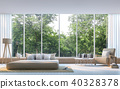 Modern bedroom with nature view 3d render 40328378