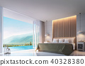 Modern Bedroom with mountain view 3d render 40328380