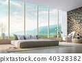 Modern bedroom with mountain view 3d render 40328382