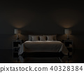 Modern bedroom with empty black wall 3d render 40328384