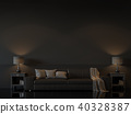 Modern living room with empty black wall 3d render 40328387