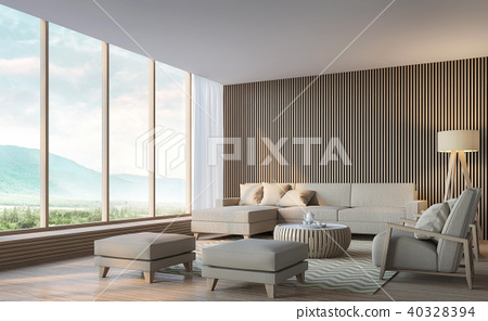 Modern living room with mountain view 3d render 40328394
