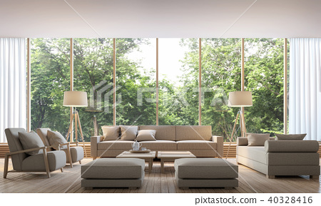 Modern living room with nature view 3d render 40328416