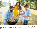 family, barbecue, sausages 40328772