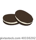 Vector chocolate sandwich cookies pattern. Cute food texture. Delicious cake breakfast print. Chip 40330202