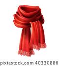 Vector 3d realistic silk, velvet red scarf 40330886