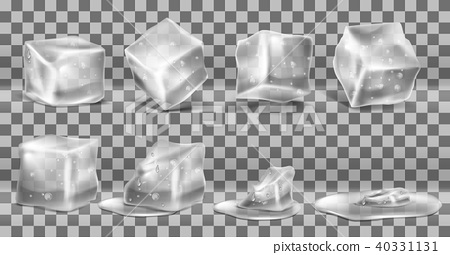 Vector set of cold solid ice cubes and melting 40331131
