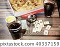 유리컵, 콜라, 피자 40337159