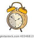 yellow retro alarm clock vector illustration  40346813