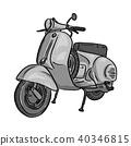 retro gray scooter vector illustration sketch  40346815