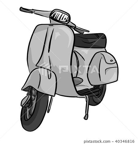 retro gray motorcycle vector illustration  40346816