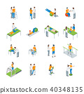 Physiotherapy People 3d Icons Set Isometric View. Vector 40348135